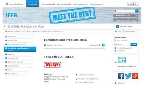 Talsa,  bei der nächste IFFA Frankfurt Messe dabei